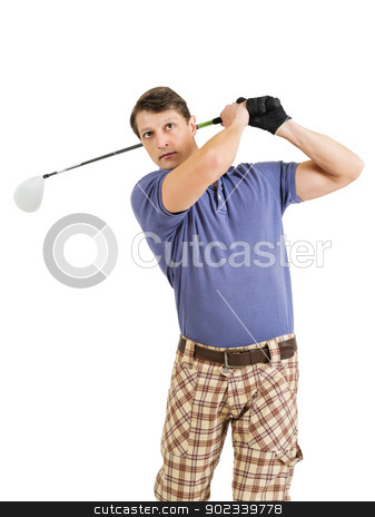 Playing golf stock photo, Photo of a male golfer in his late twenties finishing his swing with a driver.  by © Ron Sumners