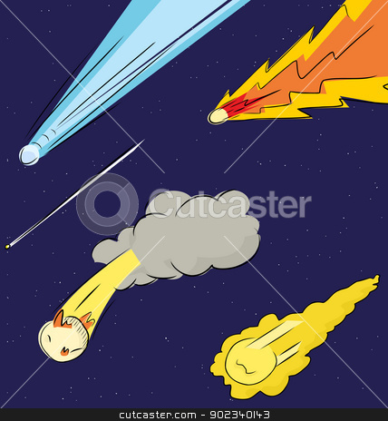 Comets in the Sky stock vector clipart, Various comets flying through in the sky by Eric Basir