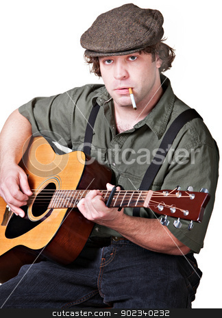 Smoking Guitar Player stock photo, Serious guitarist with cigarette over white background by Scott Griessel