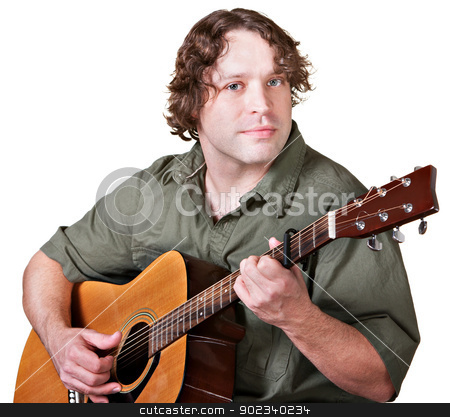 Cheerful Guitar Player stock photo, Easygoing male guitarist playing music over white background by Scott Griessel