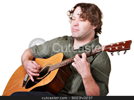 Guitarist with Eyes Closed stock photo, Serious man with eyes closed playing a guitar by Scott Griessel