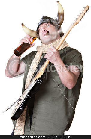 Rock Musician Drinking and Smoking stock photo, Rock musician with electric guitar smoking and drinking by Scott Griessel