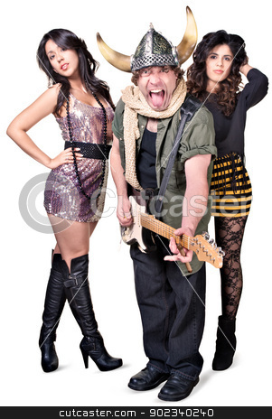 Rock Guitarist with Pretty Women stock photo, Punk rock musician with fans sticking out tongue by Scott Griessel