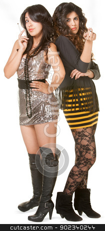 Troublemaking Club Girls stock photo, Two misbehaving teen girls in mini skirts on isolated background by Scott Griessel