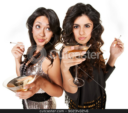 Club Girls Smoking and Drinking stock photo, Bored young women with martinis and cigarettes  by Scott Griessel