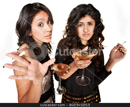 Young Drinking Girls stock photo, Rude club girls with cigarettes and martinis over white background by Scott Griessel