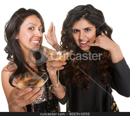 Cute Women Playing Telephone stock photo, Pair of cute women holding martinis with a call me gesture by Scott Griessel
