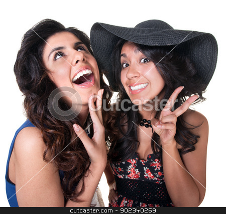 Two Giggling Friends stock photo, Giggling female friends on isolated background by Scott Griessel