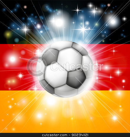 German soccer flag stock vector clipart, Flag of Germany soccer background with pyrotechnic or light burst and soccer football ball in the centre  by Christos Georghiou