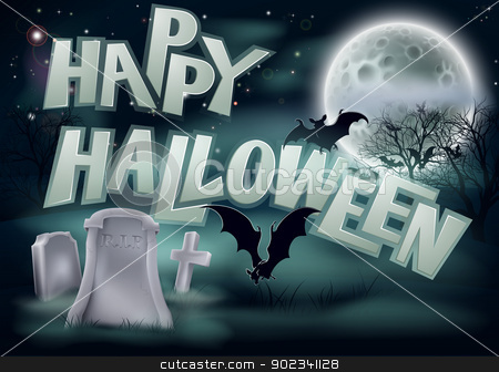 Happy Halloween Illustration stock vector clipart, A spooky Happy Halloween graveyard background illustration with bat and a full moon by Christos Georghiou