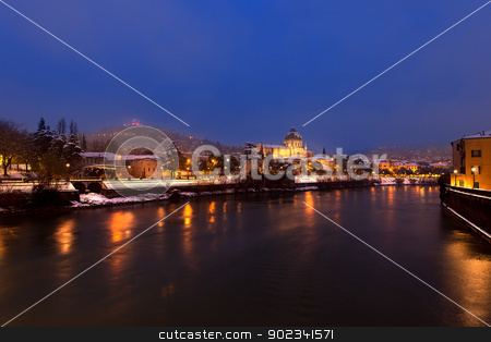 Verona by Night - Italy stock photo, The Adige river and hills with snow in winter - Verona by night - Veneto Italy by catalby
