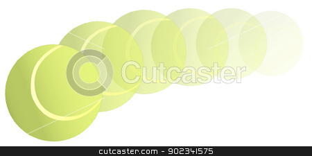 Flying Tennis Ball stock vector clipart, A new yellow tennis ball flying through the air on an arc trajectory. by Kotto