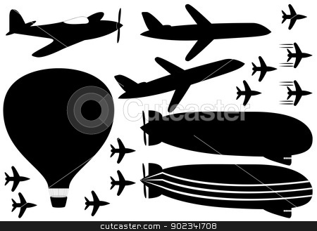 Fly vehicles  stock vector clipart, Set of fly vehicles illustrated on white background by Iliuta