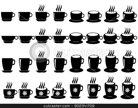 Coffee and tea cups stock vector clipart, Set of coffee and tea cups illustrated on white background by Iliuta