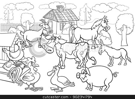 Farm Animals Cartoon For Coloring Book Stock Vector