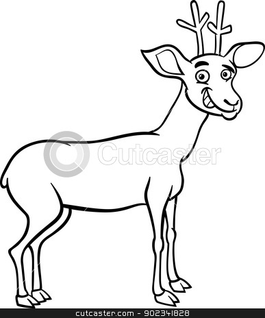 deer cartoon illustration for coloring stock vector clipart, Black and White Cartoon Illustration of Funny Wild Deer Animal for Coloring Book by Igor Zakowski