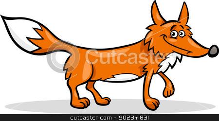 wild fox cartoon illustration stock vector clipart, Cartoon Illustration of Funny Wild Fox Animal by Igor Zakowski
