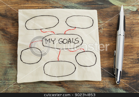 setting goals napkin doodle stock photo, my goals - setting goals concept - blank flowchart sketched on a cocktail napkin by Marek Uliasz