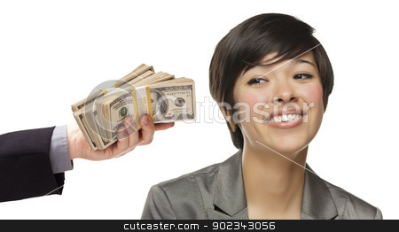 Mixed Race Young Woman Being Handed Thousands of Dollars stock photo, Mixed Race Young Woman Being Handed Thousands of Dollars Isolated on a White Background. by Andy Dean