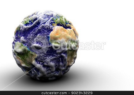 Bumped earth stock photo, 3d render of a bumped and displaced earth against white backgorund with soft shadow. Nasa public domain maps used. XXXXXXL size!  by Mirko Pernjakovic