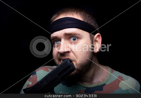 Funny soldier stock photo, Funny soldier playing around with a gun!  by Mirko Pernjakovic