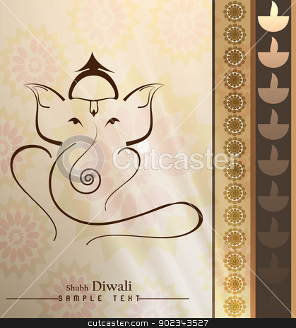 Beautiful Artistic colorful Hindu Lord Ganesha greeting card vec stock vector clipart, Beautiful Artistic colorful Hindu Lord Ganesha greeting card vector  by bharat pandey