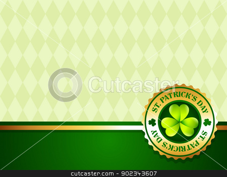 saint patrick's day label stock vector clipart, vector saint patrick's day golden label vector design by pinnacleanimates