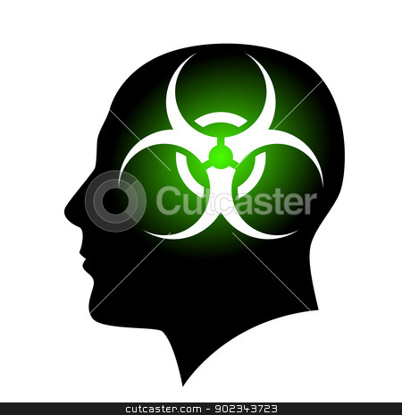 Human face with Biohazard sign stock photo, Human face with Biohazard sign. Illustration on white background for creative design by dvarg