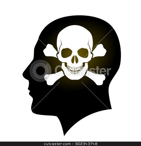 Skull and Crossbones in head stock photo, Pirate Human face with Skull and Crossbones. Illustration on white by dvarg
