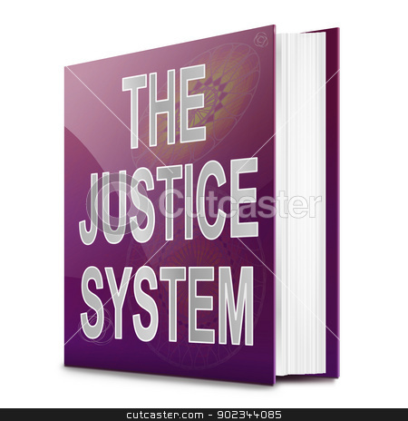 Justice system text book. stock photo, Illustration depicting a text book with a justice system concept title. White background. by Samantha Craddock