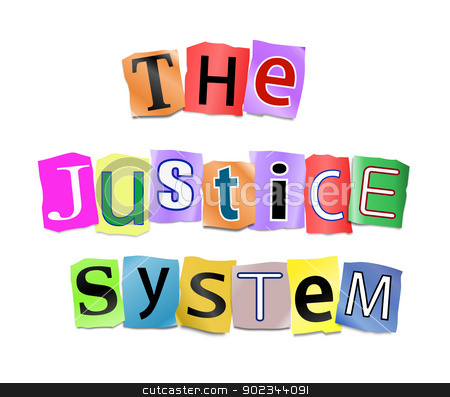 The justice system. stock photo, Illustration depicting cutout printed letters arranged to form the words the justice system. by Samantha Craddock