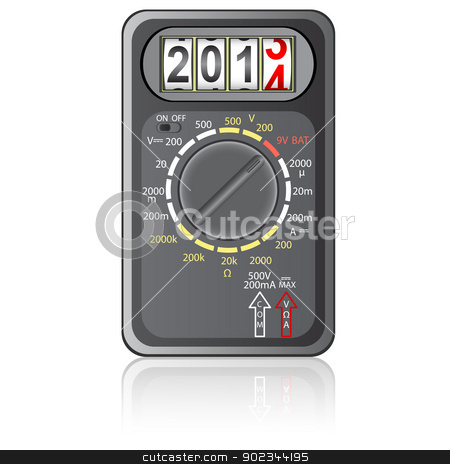 2014 New Year Multimeter  on a white background, vector. stock vector clipart, 2014 New Year Multimeter  on a white background, vector. by aarrows
