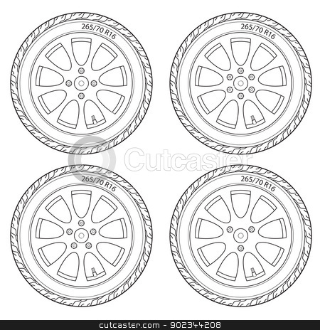 Car Wheel, vector illustration stock vector clipart, Car Wheel, vector illustration by aarrows