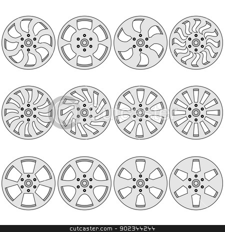 Car  alloy wheels, vector illustration stock vector clipart, Car  alloy wheels, vector illustration by aarrows