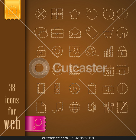 icons stock vector clipart, set of icons on a brown fabric by Miroslava Hlavacova