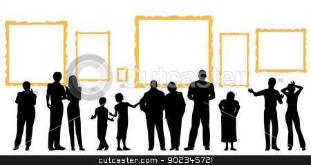 Art gallery stock vector clipart, Editable vector silhouettes of diverse people at an art gallery or museum by Robert Adrian Hillman