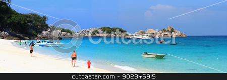 relaxing white sand beach stock photo, traveller walking on white sand beach at Similan island national park Andaman Thailand by Vichaya Kiatying-Angsulee