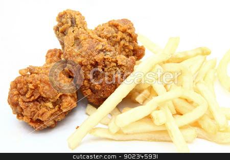 fried chicken with french fries stock photo, crispy and spicy fried chicken with french fries by Vichaya Kiatying-Angsulee