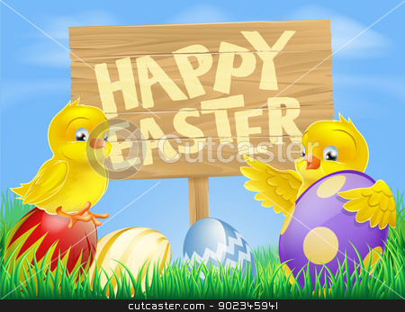 Easter birds and eggs with sign stock vector clipart, Cartoon illustration of Easter chicks and painted Easter eggs with a wooden sign reading Happy Easter by Christos Georghiou