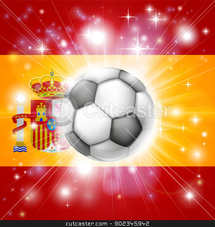 Spain soccer flag stock vector clipart, Flag of Spain soccer background with pyrotechnic or light burst and soccer football ball in the centre  by Christos Georghiou