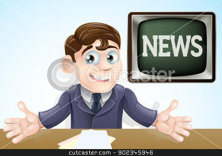 News anchor man stock vector clipart, An illustration of a cartoon television news anchor man presenting the TV news by Christos Georghiou