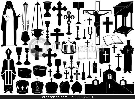 Set Of Religious Elements stock vector clipart, Set of religious elements isolated on white by Ioana Martalogu