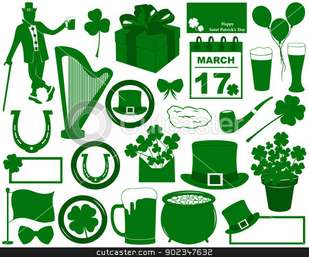 Saint Patrick's Day Elements stock vector clipart, Saint Patrick's Day Elements isolated on white by Ioana Martalogu