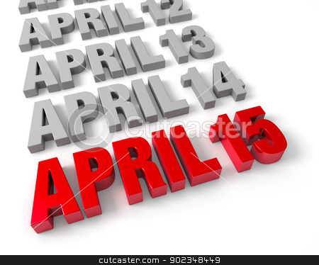 April 15th Approaches stock photo, Row of days in April in muted gray leading up to