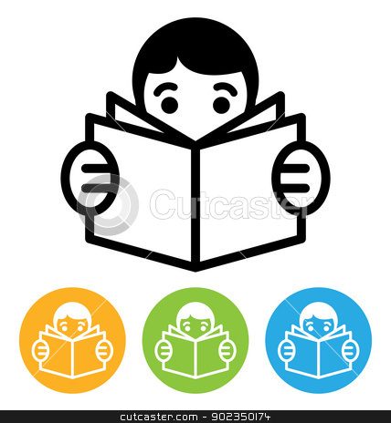 reading icon stock vector clipart, reading open book icon isolated on white by artizarus