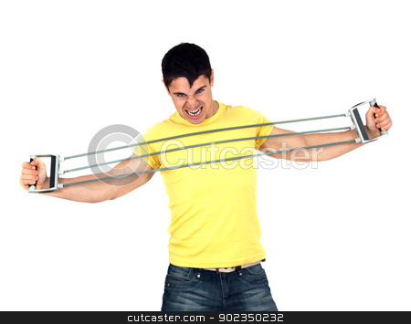 Man doing fitness stock photo, Young athletic man exercising and doing fitness with a chest expander(resistance band ).Isolated on white background  by borojoint