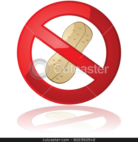 Peanut free stock vector clipart, Illustration showing a peanut inside a forbidden sign, for peanut free products or environments by Bruno Marsiaj