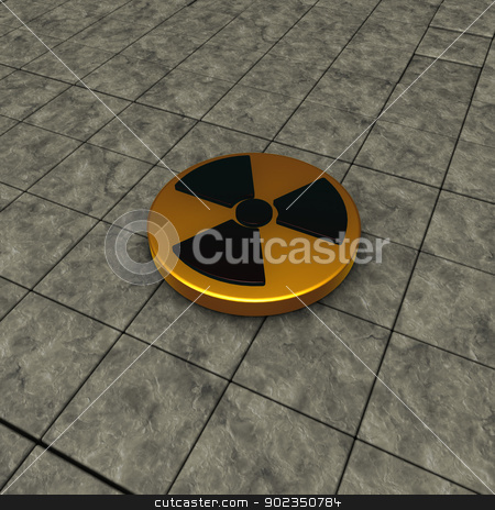 nuclear symbol stock photo, nuclear symbol on stone tiles background - 3d illustration by J?