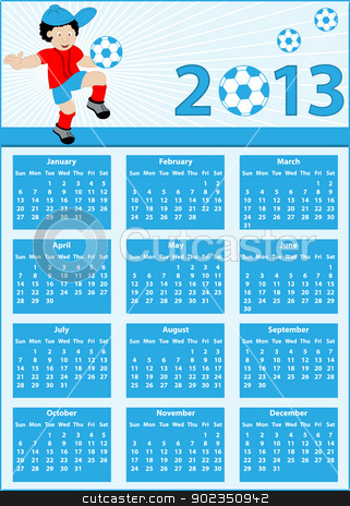 Calendar 2013 with football player stock vector clipart, Calendar 2013 with a soccer theme. Child football player cartoon character bouncing his ball on his knee. by toots77