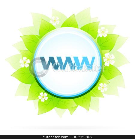 Icon WWW and Internet stock vector clipart, Icon WWW and Internet with Green leaves and Flowers by Vadym Nechyporenko